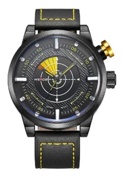 Relógio Masculino Analógico Preto E Amarelo