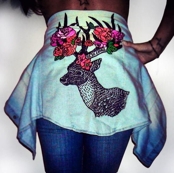 Camisa Jean Diseño Celeste Clara Mujer Venado Pintada Ciervo