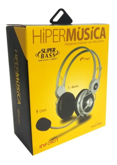 5 Fone Ouvido Headset Estéreo C/ Microfone Pc Skype Hm-610mv