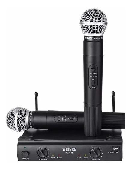 Microfone Duplo Weisre Pgx-58 P/ Palestras Igrejas Boate