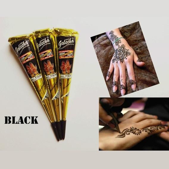 Kit 10 Tubos Henna Preta + Aplicador + 8 Bicos, Black Friday