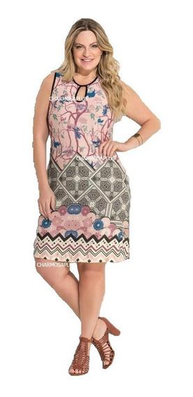 Vestido Gordinha Estampa Barrado Roupas Femininas Plus Size