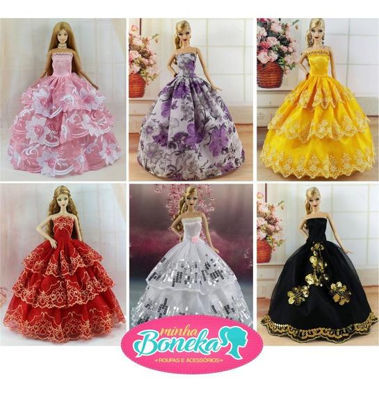 Vestido Barbie Luxo Festa * Roupa + Sapatos Para Boneca