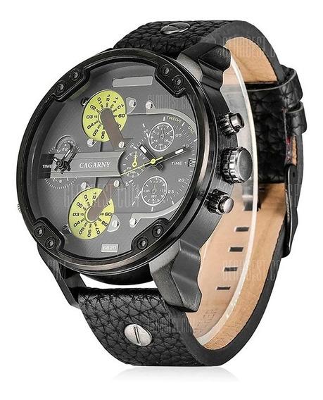 Relógio De Pulso Cagarny Quartz Pulseira Couro Mod. 6820