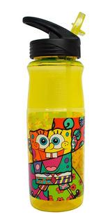 Termo Botella Agua Bob Esponja Britto 828ml Cilindro Popote