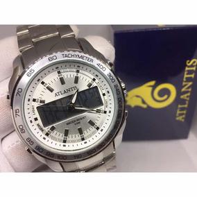 Relógio Atlantis Masculino Prateado Grande Multifuncional