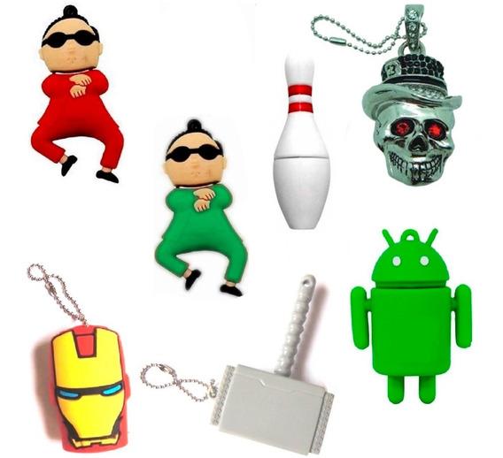 4 Pen Drive Martelo Do Thor Iron Man Caveira Android Boliche