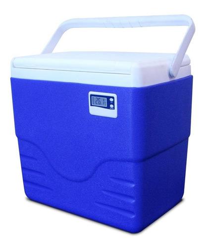 Imagem 1 de 2 de Caixa Térmica Azul Termômetro Digital Alça 15 Lts - Coleman