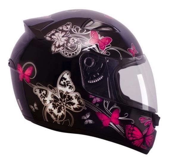 Capacete Ebf Feminino New Spark Borboleta Branco/preto/rosa