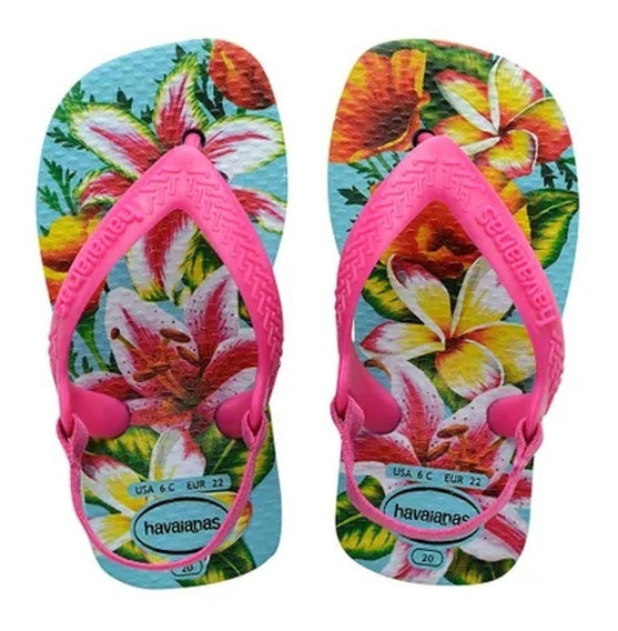 Chinelo Infantil Havaianas New Baby Chic Floral Rosa