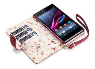 La Cartera De Piel Sintética Premium Sony Xperia Z1 Con Inte