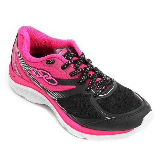 Tenis Olympikus Like Preto/pink Tecido Super Confortável