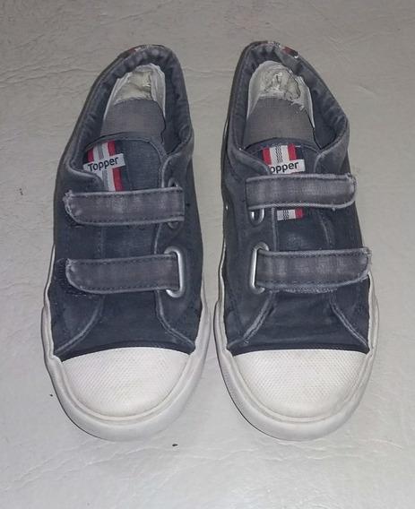 Zapatillas Topper Lona Azul Niños (usadas)
