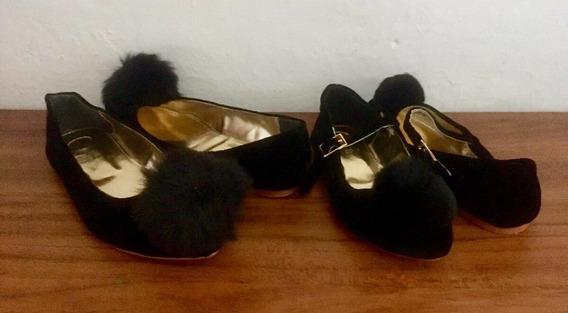 Dúo Madre E Hija Zapatos Flats Negro T 24 Mujer Y 19 Niña