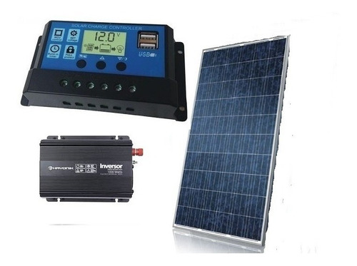 Kit Painel Placa 150w Controlador  Inversor Energia Solar