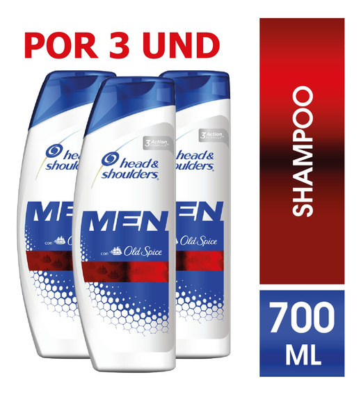 Shampoo Head & Shoulders Old Spice Para Hombres 700ml X3 Und