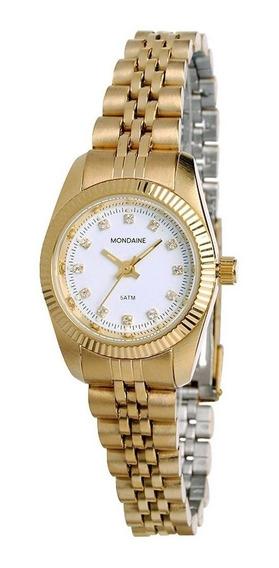 Relógio Mondaine Feminino Mulher Analógico Dourado.