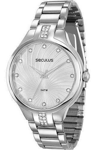 Relógio Seculus Cromado Feminino 28619l0svns2 Original