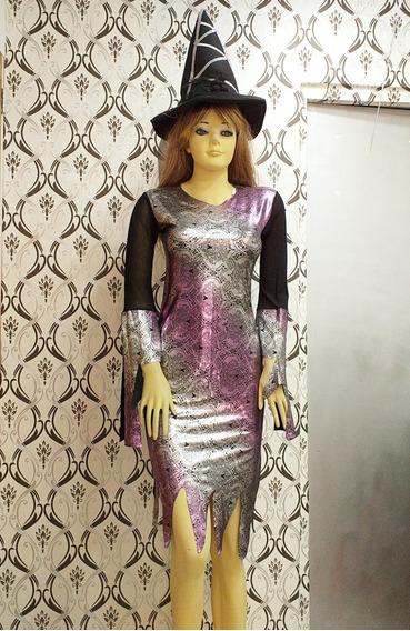 Disfraz Vestido Y Sombrero De Bruja Halloween