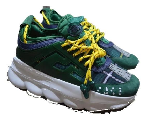 Tenis Sneakers Versace Chain Reaction Verde, Envío Gratis