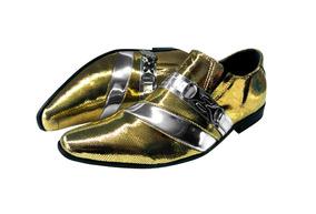Sapato Masculino Em Couro Dourado Com Prata Cod: 02