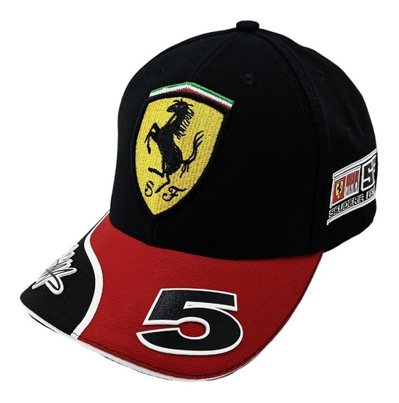 Boné Ferrari Preto Aba Curva Aberto C Ajuste