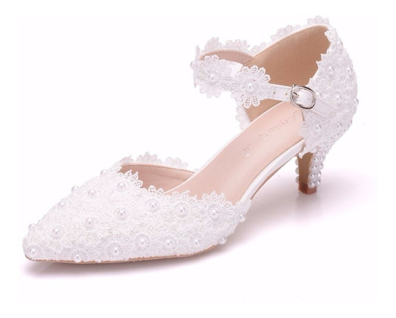 Sapato De Noiva Salto 5cm Renda E Pérolas Luxo Casamento