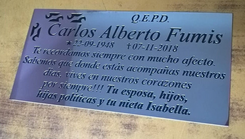 Placa Cementerio Acero Inoxidable 20x10