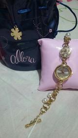 Relógio Allora Dourado Analógico Feminino Com Pedras