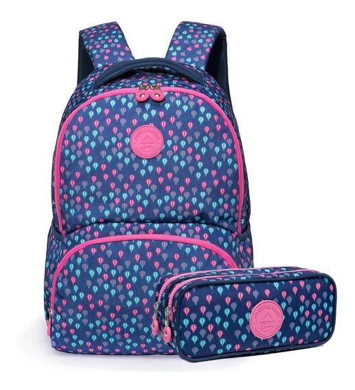 Kit Escolar Mochila Estojo Spector Balloon Infantil Meninas