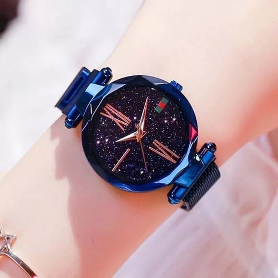 Relógio Feminino Céu Estrelado Pulseira Imã Magnético