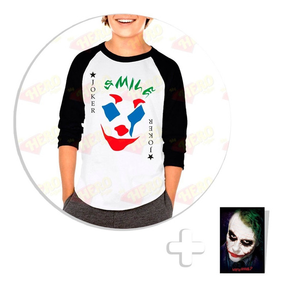 Envío Gratis Playera Raglan Niño Joker Movie 2019 + Sticker