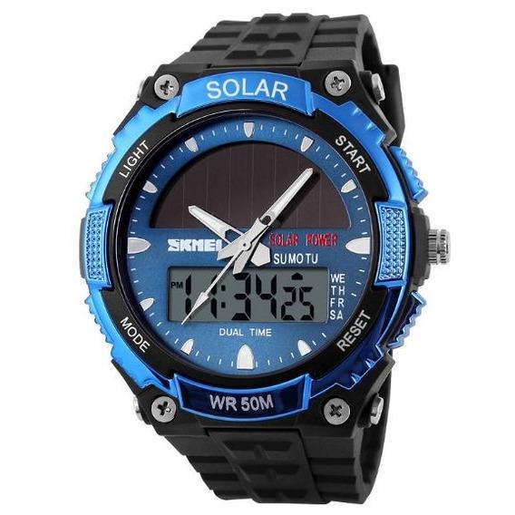 Reloj Skmei Analógico Y Digital Sumergible Solar 1049