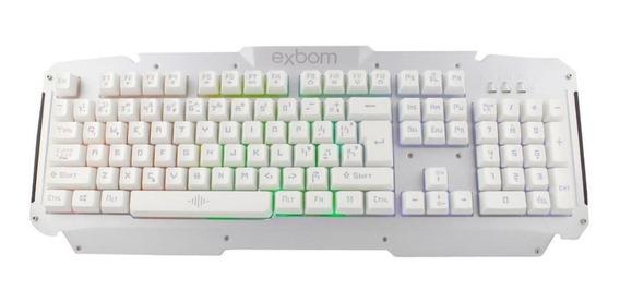 Teclado do pc QWERTY Exbom BK-G200 português brasil prata e branco com luz RGB