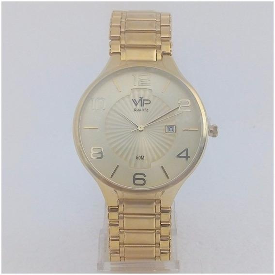 Relógio Masculino Vip Quartz Mh295 Slim Banho Ouro Original