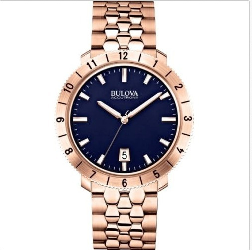 Bulova Accutron Ii Blue Dial Rose Gold-tone Mens Watch 97b13