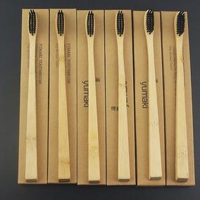 7x Escova De Dente De Bambu Ecológica Cerdas Carvão Ativado