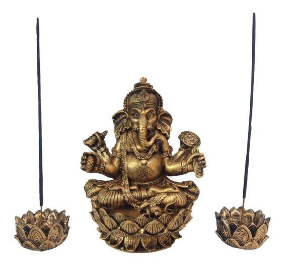 Ganesha Hindu Deus Da Sorte + 2 Incensários Flor De Lótus
