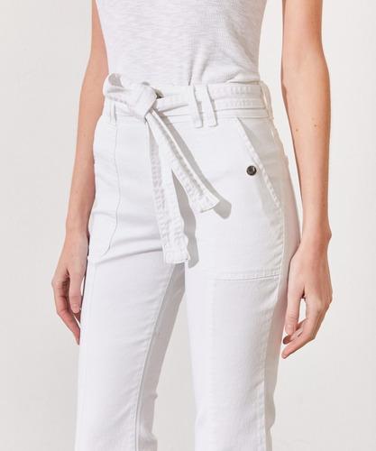 Jeans Blanco Kosiuko Con Cinturón Bootcut Belt White