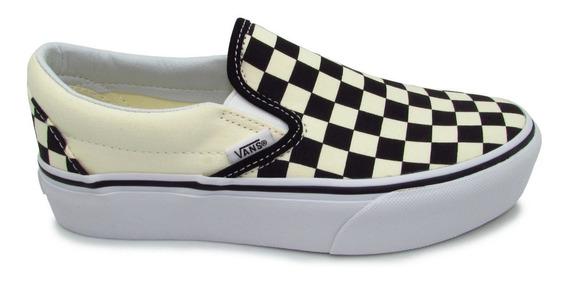 Tenis Vans Slip On Platform Checkerboard Vn00018ebww Black C