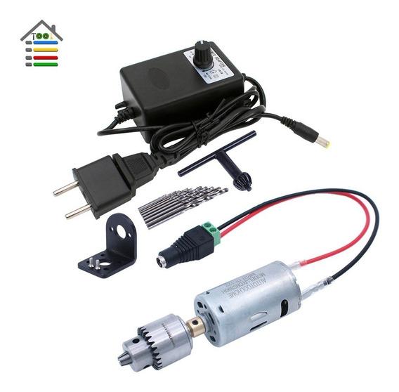 Mini Furadeira, 3~12v Motor Com Mandril Fonte +suporte