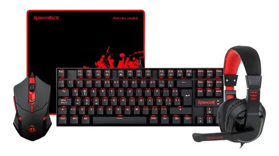 Kit Teclado Mecânico + Mouse + Headset + Mousepad Redragon