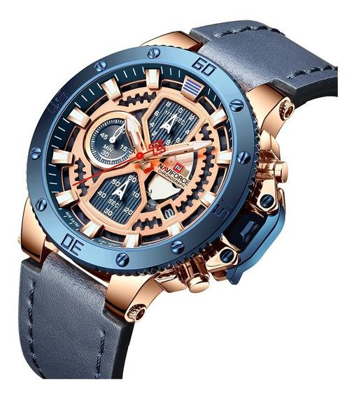 Relógio Masculino Naviforce 9159 Esportivo Pulseira Couro