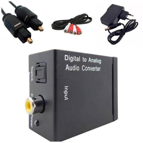 Kit Conversor Óptico Digital + Cabo Óptico +cabo Rca