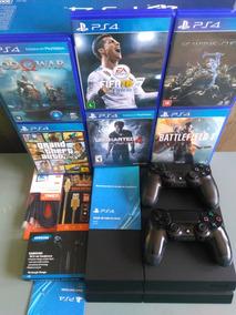 Playstation 4 Ps4 500gb 2 Controle + Jogos Na Caixa Barato