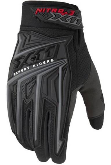 Luva X11 Nitro3 P/ Moto Motocross Motociclista Preta Orig.