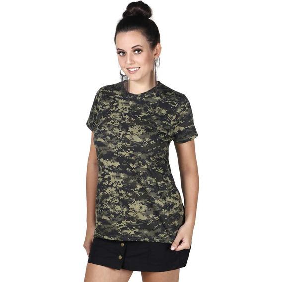 Camiseta Soldier Feminina Camuflada Digital Pantano