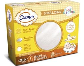 Fralda Cremer Luxo Pinte E Borde Branca C/5 Un.