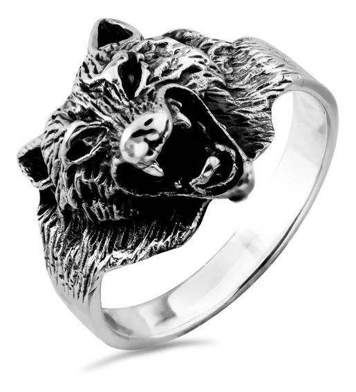 Anel De Prata Masculino Wolf Coleção Wild