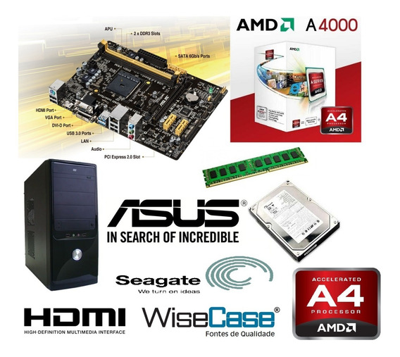 Cpu Compl, 500g Hd, 4gb Ddr3, Monit 18.5, Estab, Mouse E Tec